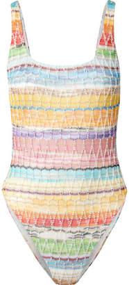 Missoni Mare Metallic Crochet-knit Cotton-blend Swimsuit - Pink