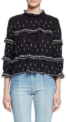 Etoile Isabel Marant Daniela Boxy Embroidered Ruffle Blouse $470 thestylecure.com