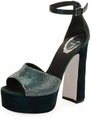 Rene Caovilla Satin and Velvet Ankle-Wrap Platform Sandal