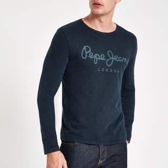 River Island Mens Pepe Jeans Blue long sleeve T-shirt