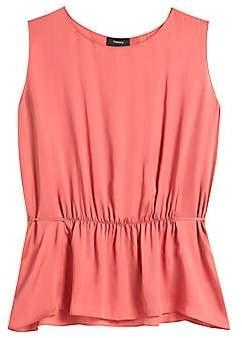 Theory Women's Shirred Silk Sleeveless Top