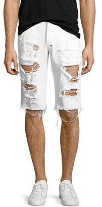 PRPS Big Splash Ripped Denim Shorts, White $208 thestylecure.com