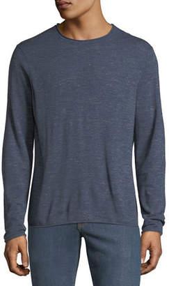 Neiman Marcus Men's Long-Sleeve Crewneck Wool-Linen Slub T-Shirt