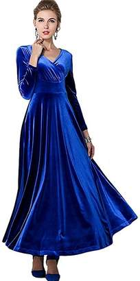 edbf1edf321b25 at Amazon Canada · In-fashion style Women Long Sleeve V-neck Velvet Stretch  Elegant Long Dress US