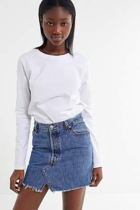 Urban Renewal Vintage Remade Levi's Notched Denim Mini Skirt