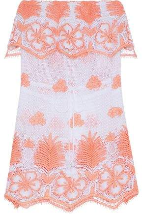 Dylan Strapless Crocheted Cotton Coverup