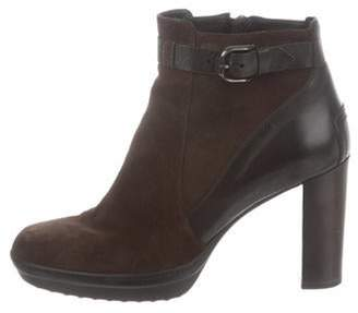 Tod's Suede & Leather Ankle Boots Brown Suede & Leather Ankle Boots