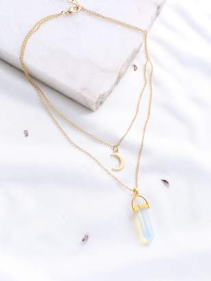 Shein Gold Crystal And Crescent Pendant Layered Necklace