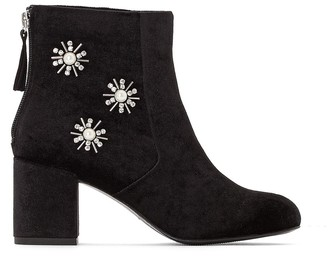 La Redoute COLLECTIONS Velvet Heeled Ankle Boots with Embellished Detail
