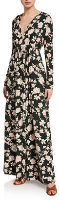 Rachel Pally Plus Size Floral-Print Long-Sleeve Jersey Caftan Dress