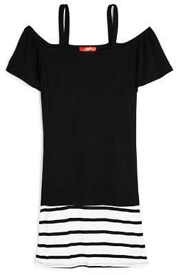 Aqua Girls' Contrast Striped Off-the-Shoulder Shirt Dress, Big Kid - 100% Exclusive