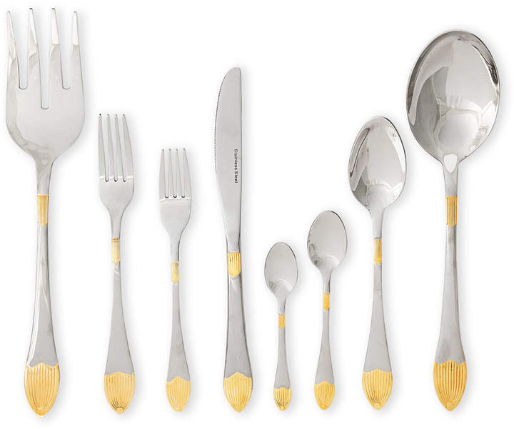 Gift Plus 75-Piece Gold-Tone Tip Flatware Set