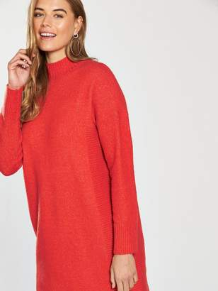 Very Rib Detail Split Hem Slouch Knitted Jumper Dress - Spicy Orange