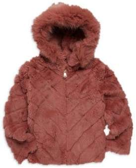 Adrienne Landau Little Girl's& Girl's Hooded Rabbit Fur Jacket