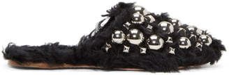 Miu Miu Black Eco Shearling Studded Mules