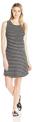 Three Seasons Maternity Women's Maternity Sleeveless Stripe Open Back Ponte Dress, Black/White S
