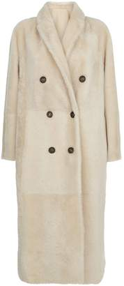 Brunello Cucinelli Reversible Double-Breasted Shearling Coat