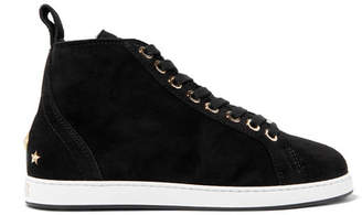Jimmy Choo Kolt Embellished Shearling-lined Suede Sneakers - Black