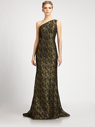 Metallic Lace Gown