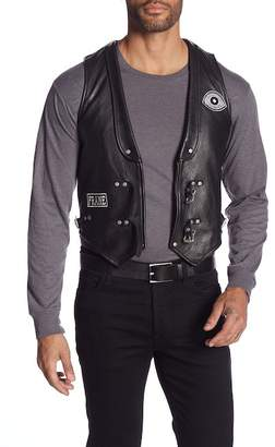 Frame Patchwork Leather Moto Vest