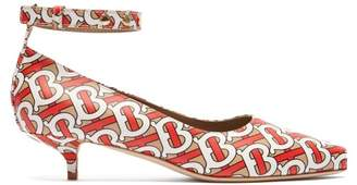 Burberry Dill Logo Print Leather Pumps - Womens - Red Multi