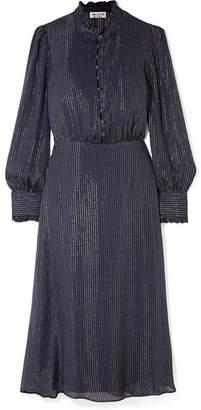 Paul & Joe Ruffle-trimmed Metallic Striped Silk-blend Chiffon Midi Dress