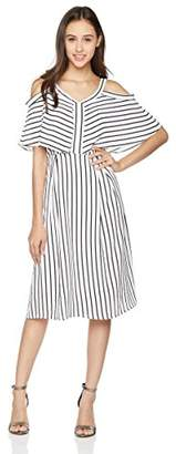 Peace Love Maxi Women's Short Sleeve Black and White Stripe Dress XX_Large