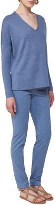 Akris Punto V-Neck Wool Pullover Top, Navy