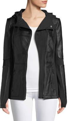 Blanc Noir Asymmetric Zip-Front Faux-Leather Moto Jacket