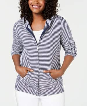 Karen Scott Striped French Terry Hoodie, Created for Macy's