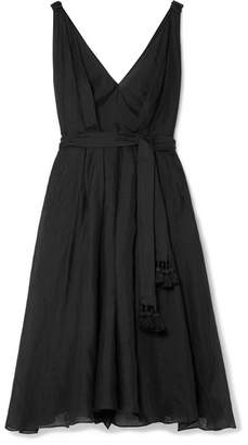 Three Graces London Dolores Ramie Midi Dress - Black