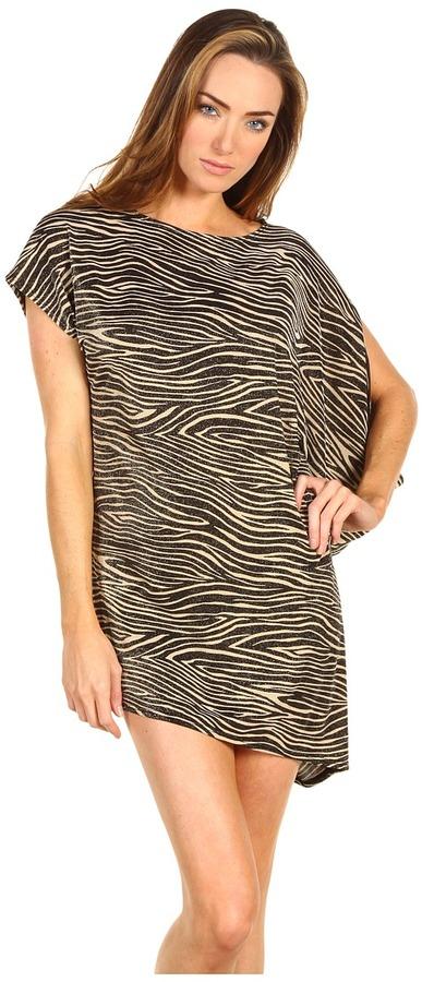 Michael Kors Metallic Mini Zebra Asymmetric Draped Cover Up (Black/Khaki) - Apparel