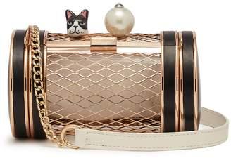 Cecilia Ma 'Carnival' bulldog faux pearl cylinder brass clutch