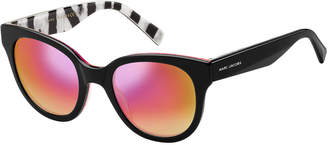 Marc Jacobs Round Mirrored Sunglasses w/ Zebra-Print Trim