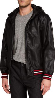 Modern American Designer Men's Faux-Leather Hooded Bomber Jacket