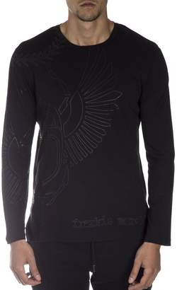 Frankie Morello Black Cotton T-shirt With Contrasting Print