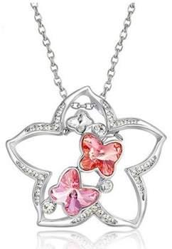 Blue Pearls Kettenanhänger Stern-Anhänger Brosche rosafarbenden Swarovski Elements, rhodium