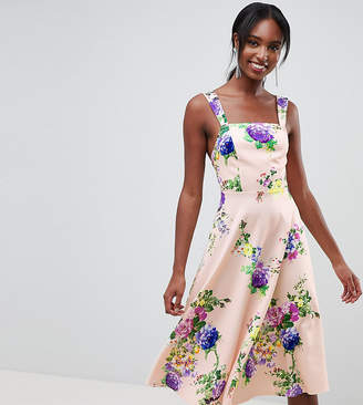 Asos Tall DESIGN Tall midi floral prom dress with square neck