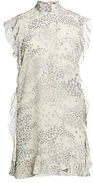 RED Valentino Women's Star Print Flutter Sleeve Silk Dress