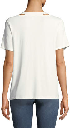 Nicole Miller New York Cutout-Collar Short-Sleeve Tee