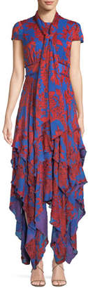 Alice + Olivia Ilia Tie-Neck Layered Ruffle Dress