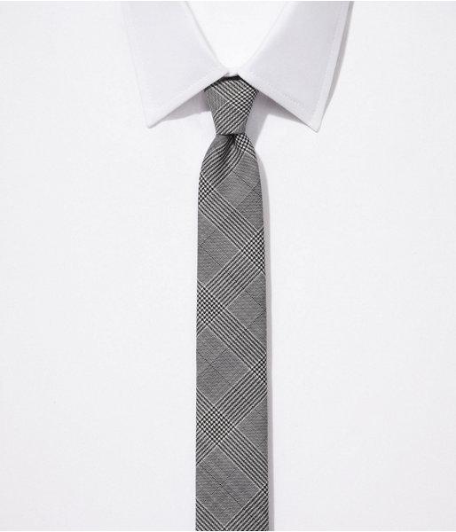 Express Skinny Wool Blend Tie - Glen Plaid