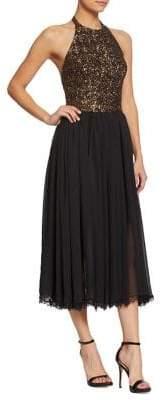 Dress the Population Tatianna Sequin & Chiffon Halter Dress