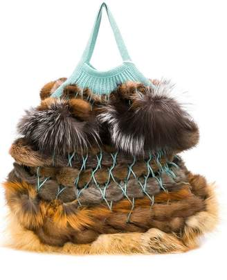Liska Danak fur trimmed bag