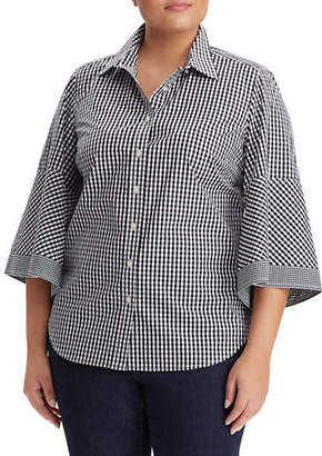 Lauren Ralph Lauren Plus Gingham Bell-Sleeve Shirt