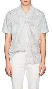Barneys New York Men's Paisley Cotton Poplin Hawaiian Shirt-White