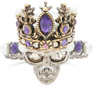 ALEXANDER MCQUEEN Queen skull crystal and pearl-embellished ring $395 thestylecure.com