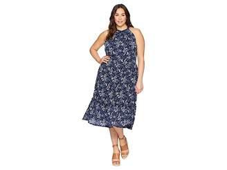 MICHAEL Michael Kors Size Scatter Blooms Print Tier Mid Dress