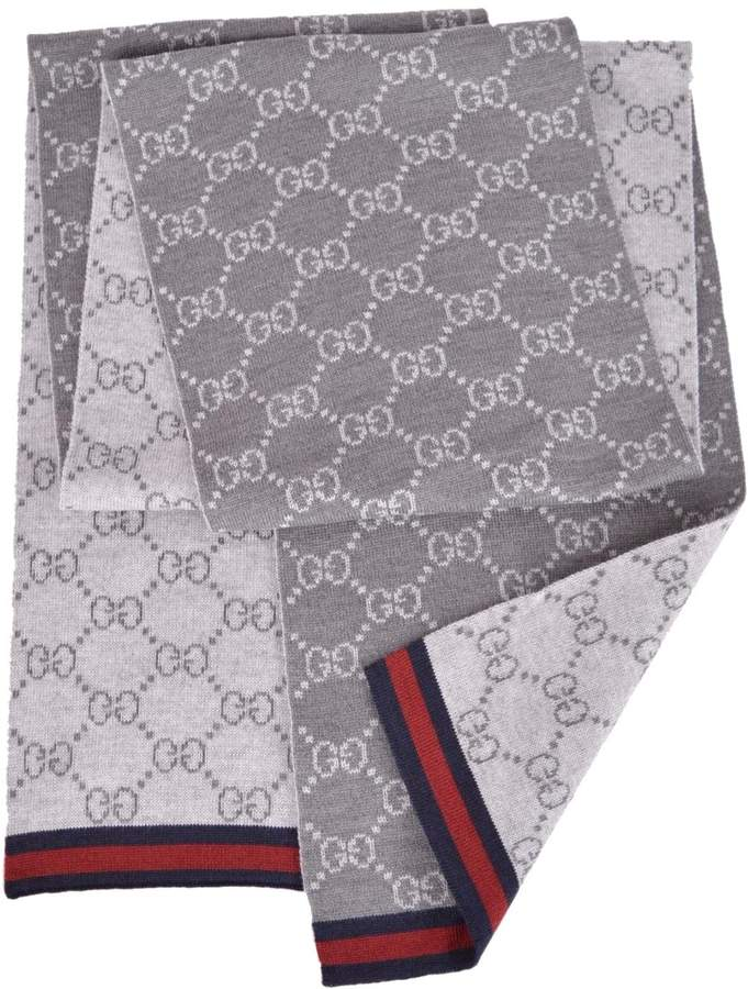 Gucci Men's Wool Reversible GG Guccissima Blue Red Web Scarf Muffler
