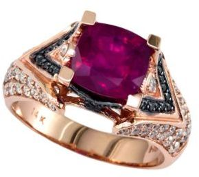 EFFY COLLECTION 14 Kt. Rose Gold, Multicolor Stones and Diamond Ring, .75CTW 2